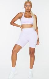 PRETTYLITTLETHING Shape Lilac Zip Up Sports Bra 3
