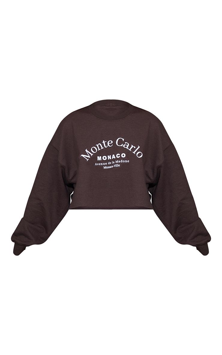 Chocolate Monte Carlo Cropped Printed Sweatshirt 5