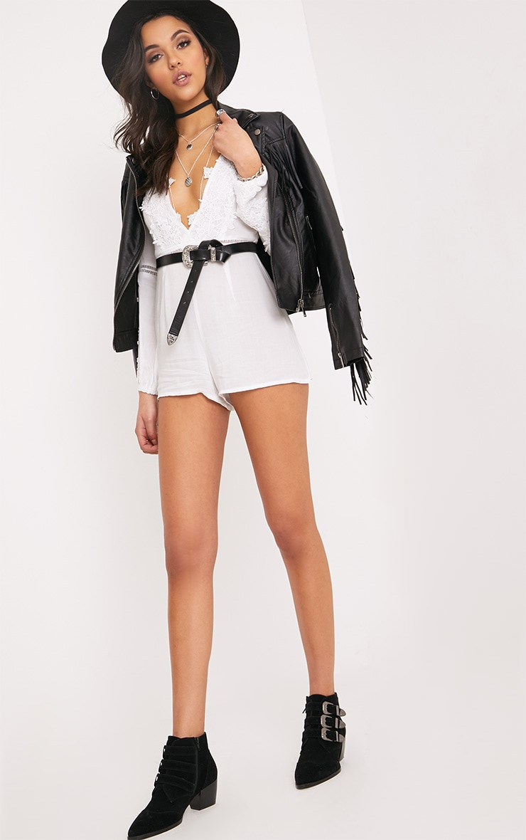 Lauren White Cheesecloth Playsuit  4