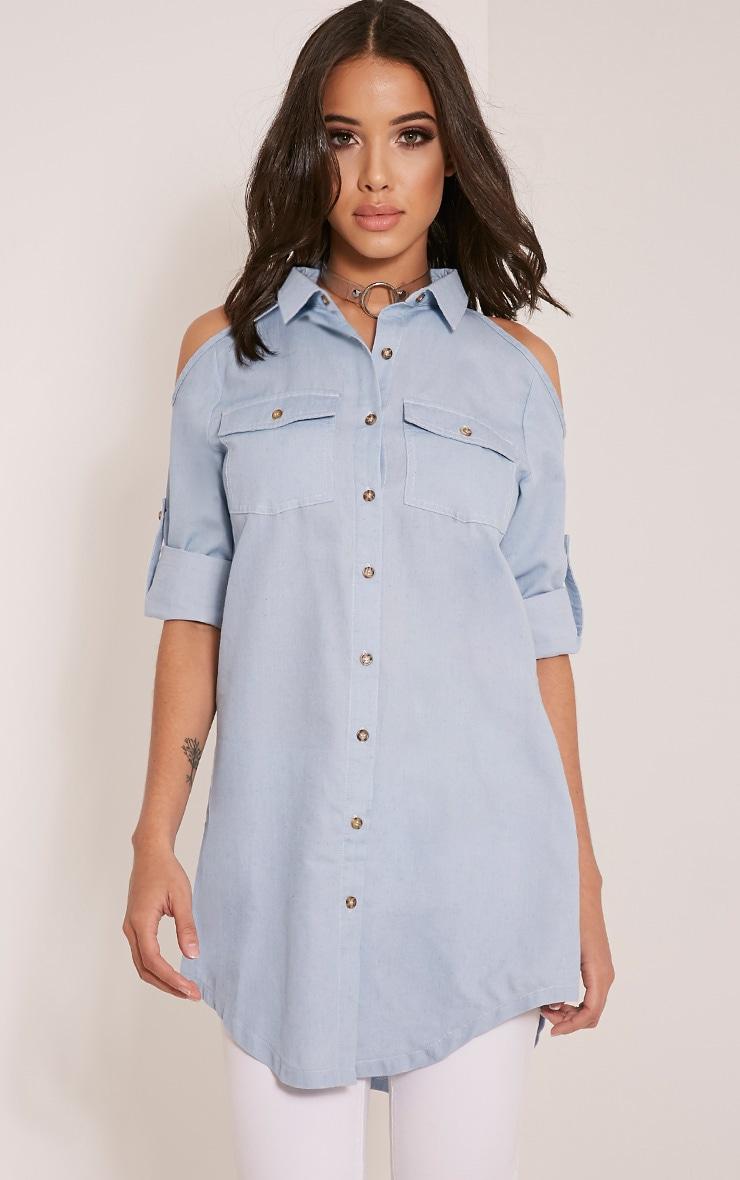 Allia Blue Light Wash Cold Shoulder Denim Shirt 1
