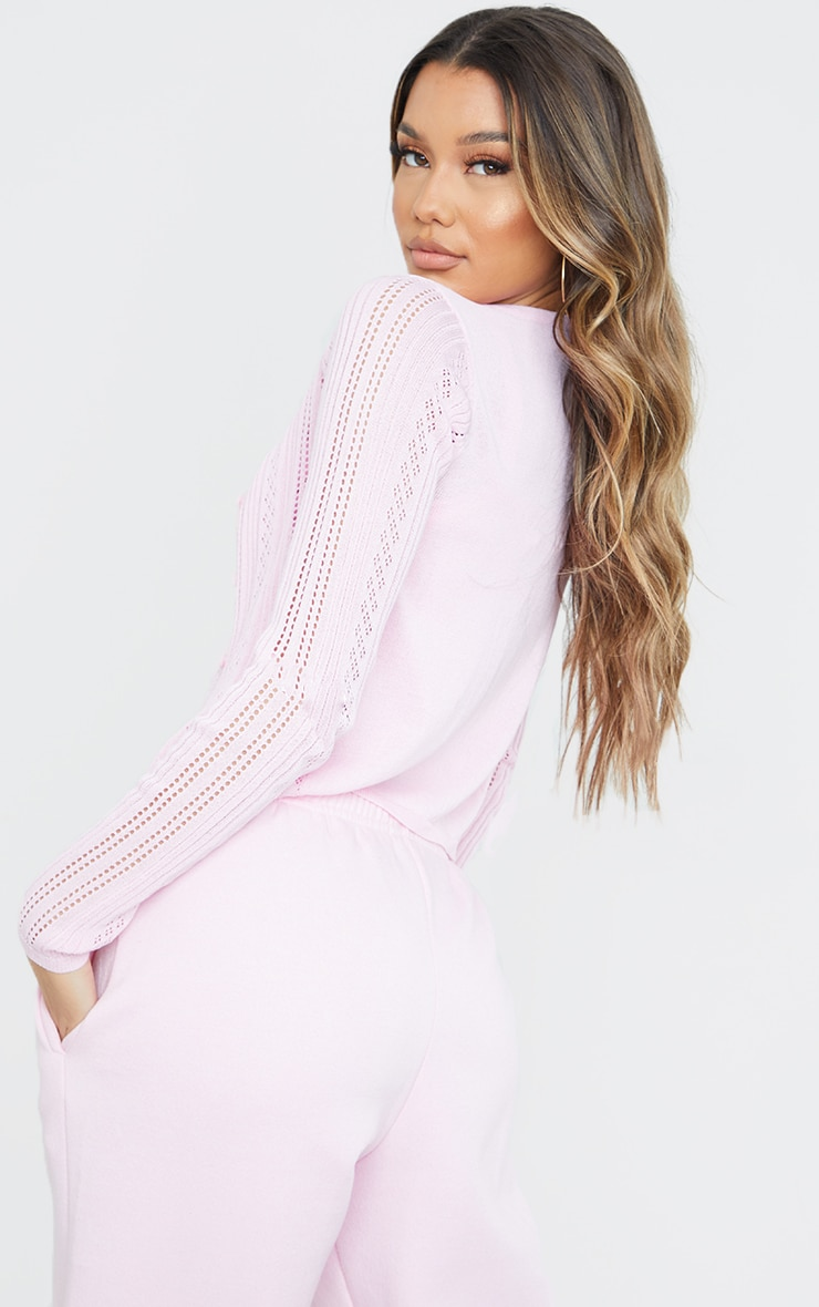 Baby Pink Ruched Front Knitted Pointelle Top 4