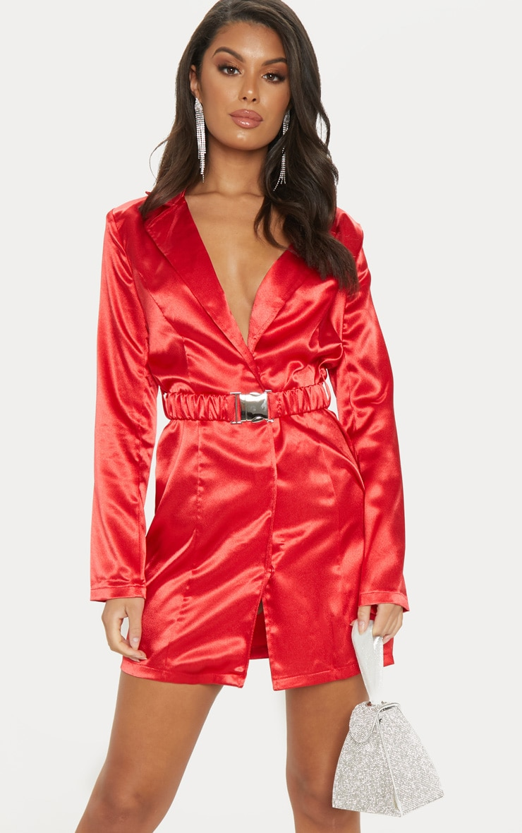 Red Satin Buckle Belted Blazer Dress  1