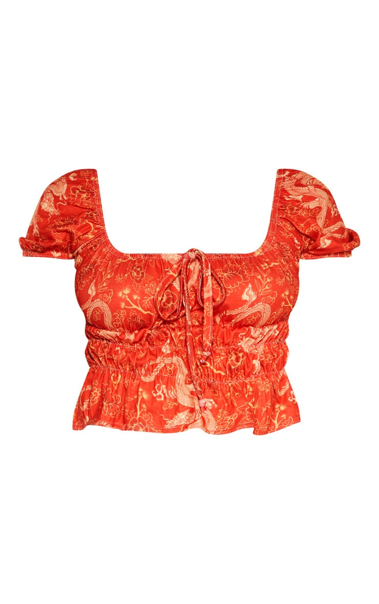Red Oriental Printed Jersey Ruched Crop Top 3