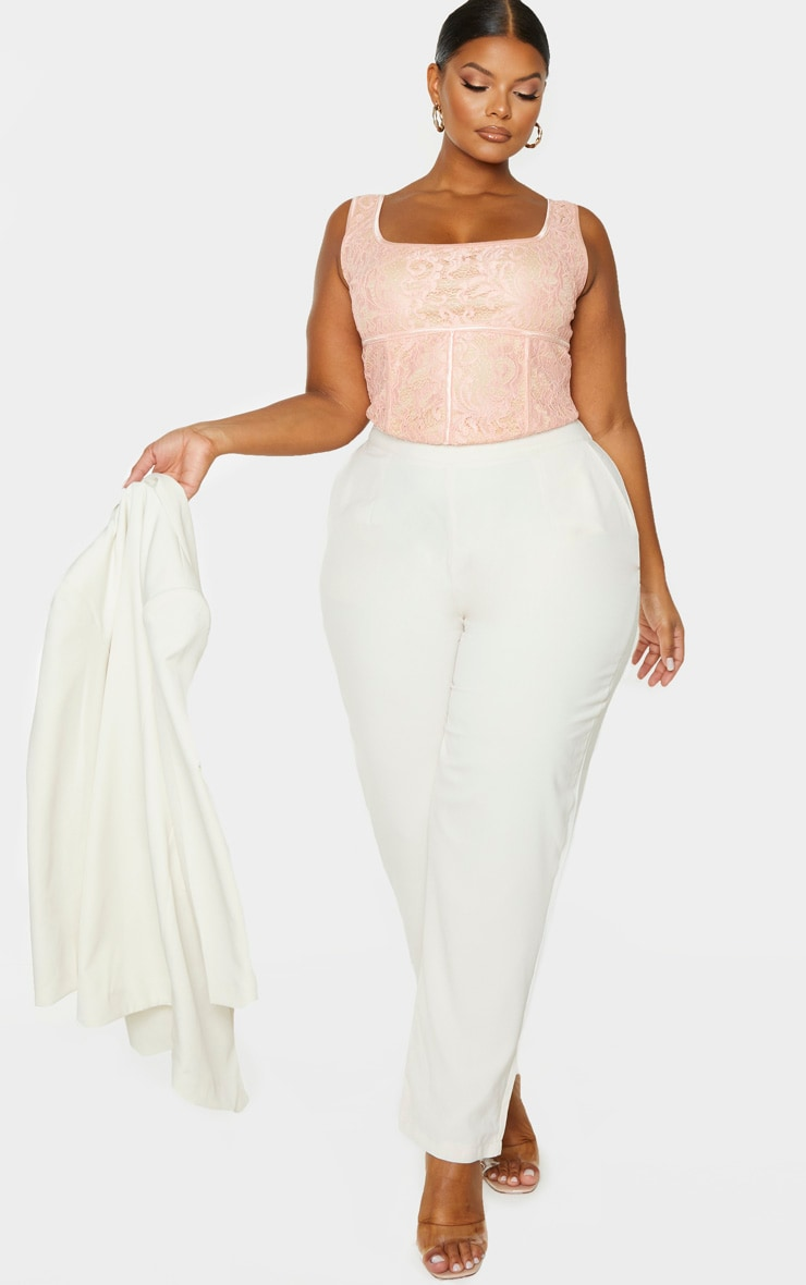 Plus Blush Lace Corset Crop Top 1