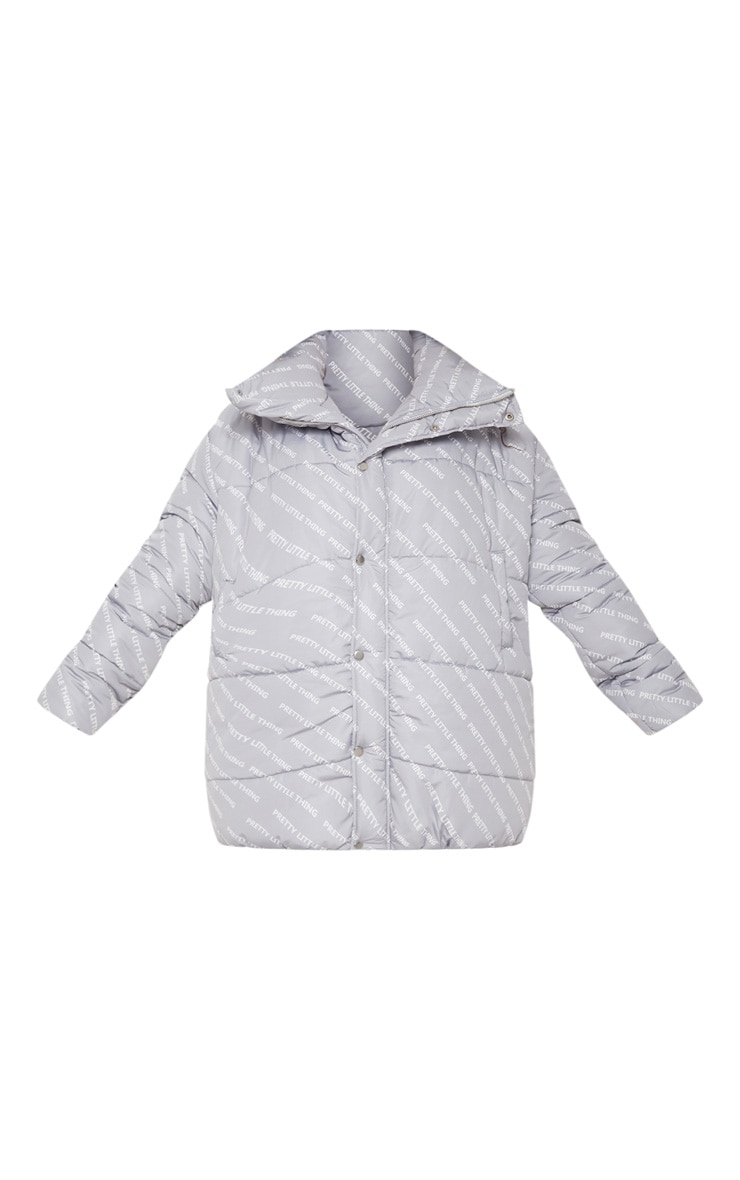 PRETTYLITTLETHING Grey Print Puffer Jacket 3