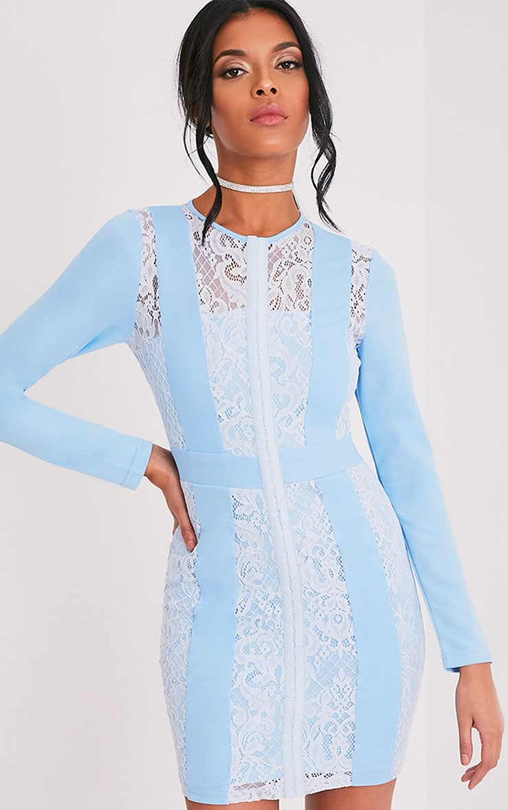 Issie Powder Blue Long Sleeve Lace Panel Bodycon Dress 1