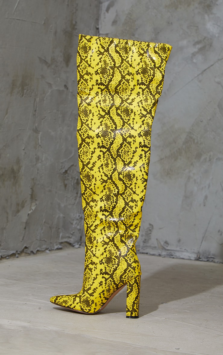 Yellow PU Snake Pointed Flat Block Heel Over The Knee Boots 3