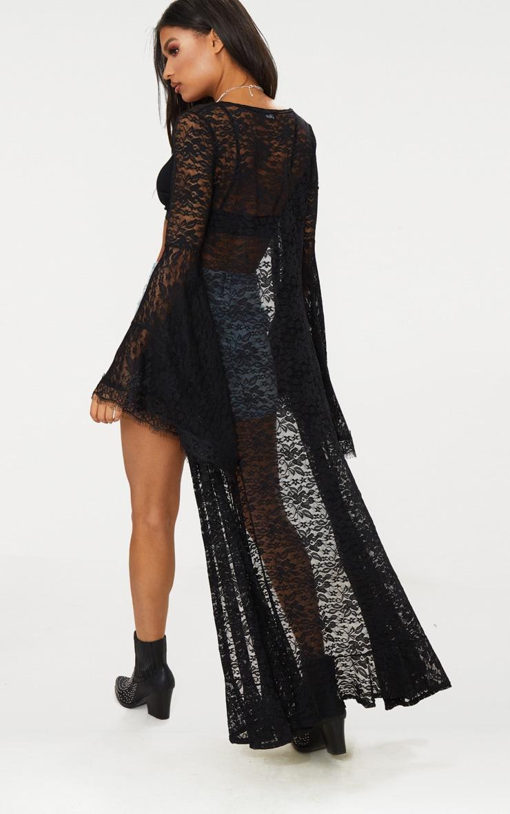 Black Lace Flare Sleeve Maxi Kimono 2