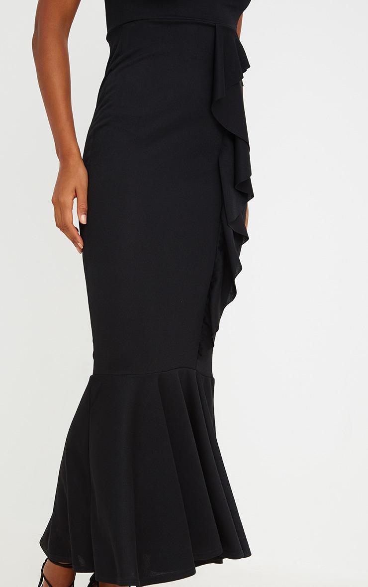 Black Ruffle Detail One Shoulder Midaxi Dress 5