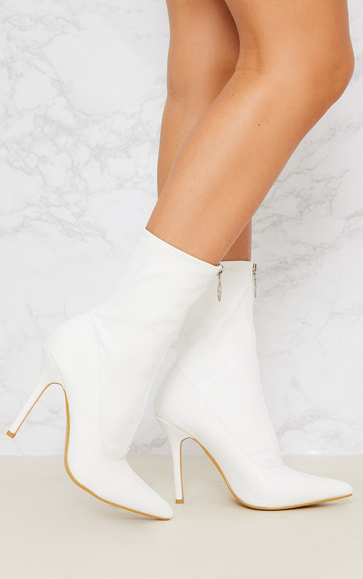 White Zip Front Lycra Sock Boot 2