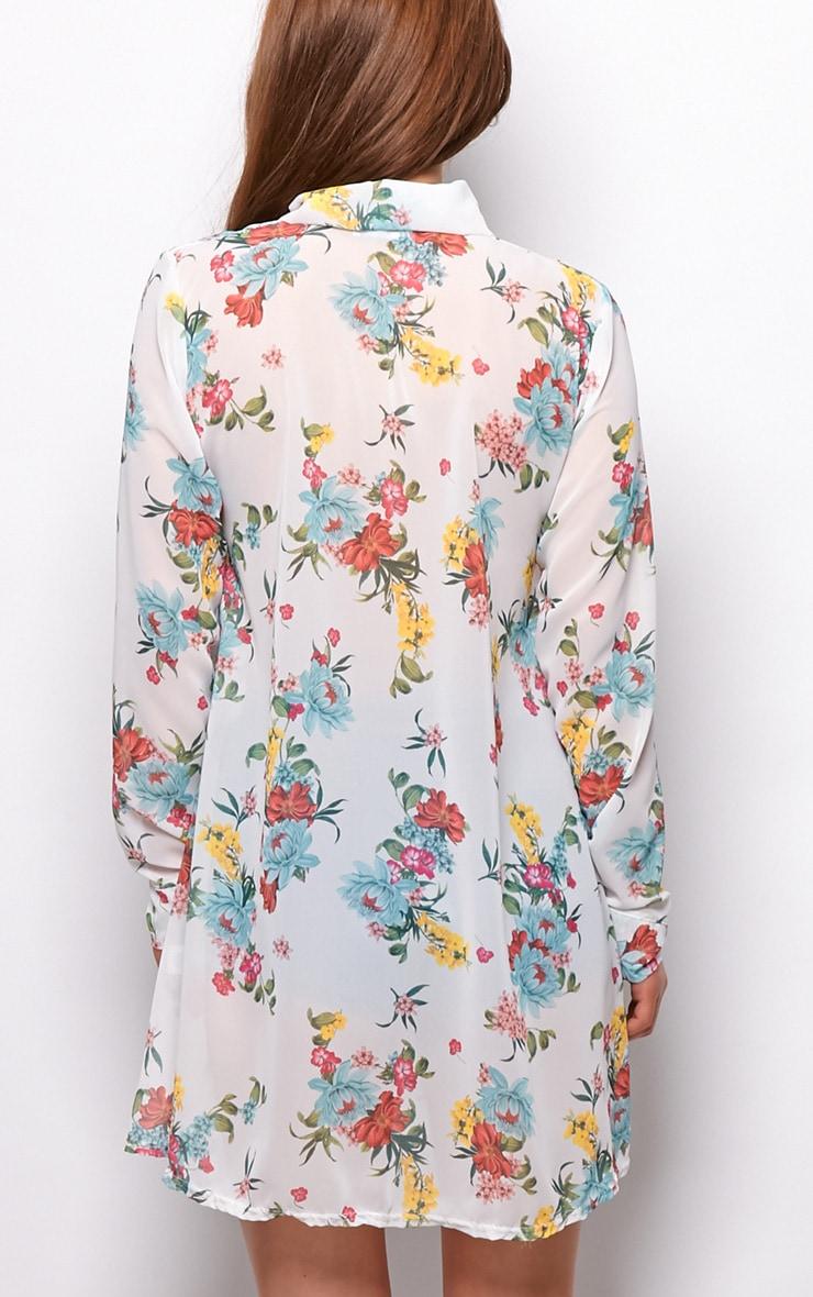 Violet White Floral Chiffon Shirt Dress  2