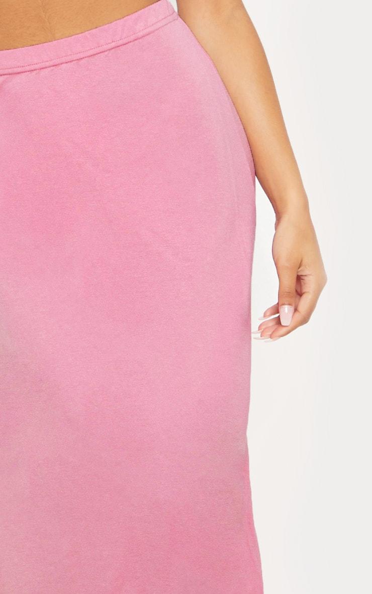 Dusty Pink Basic Jersey Floaty Midi Skirt 5