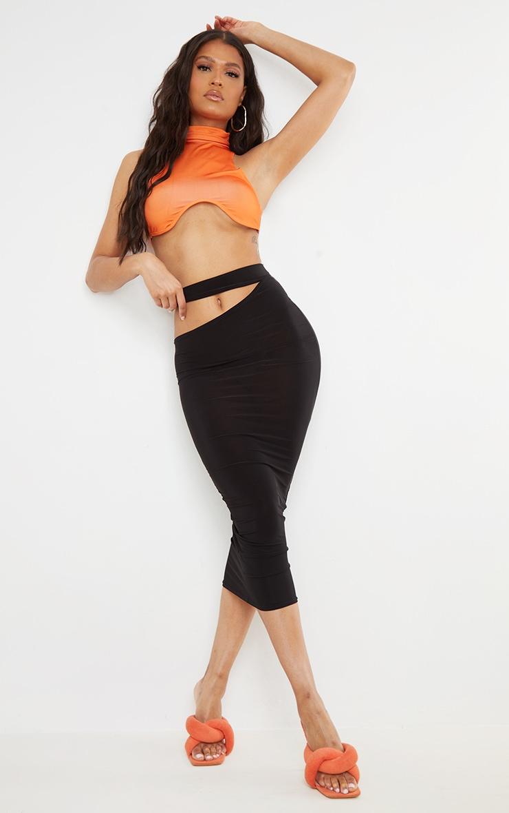 Black Slinky Cut Out Waist Detail Midi Skirt 1