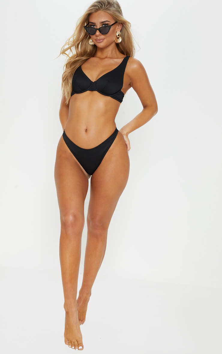 Black Ribbed Underwired High Apex Bikini Top 3