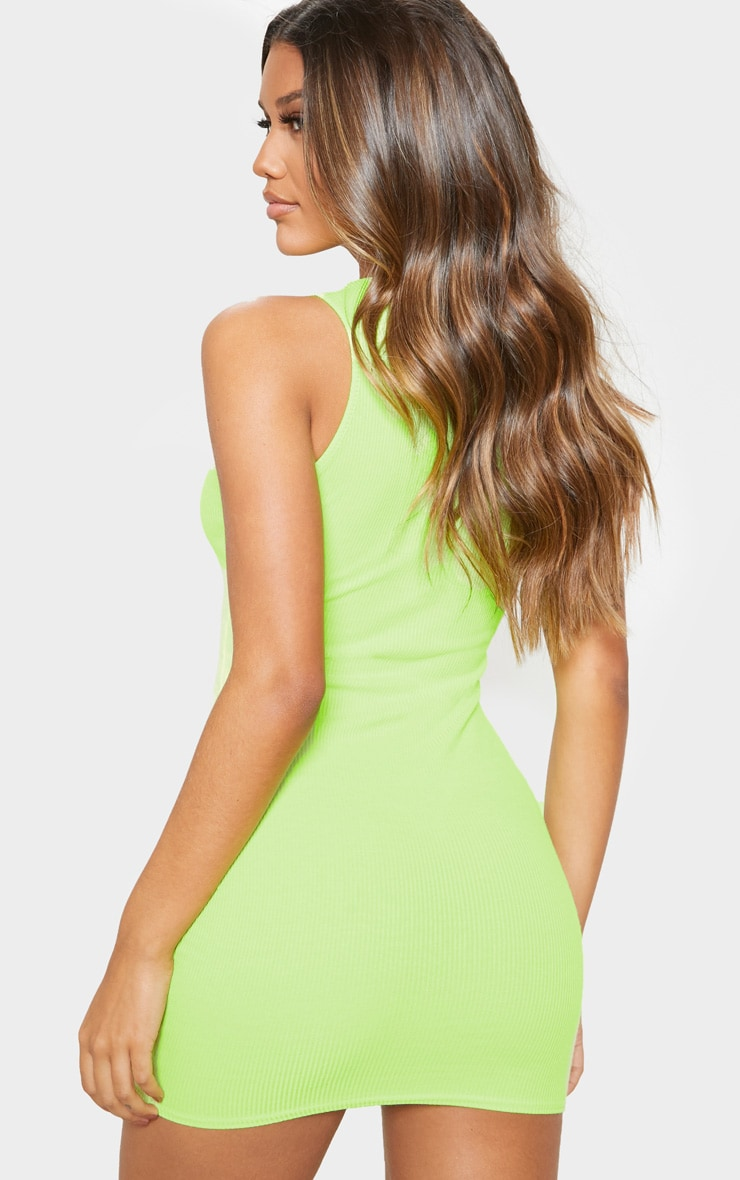 Lime Ribbed Scoop Neck Bodycon Dress 2