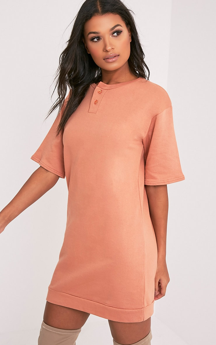 Anabelle Deep Peach Button Up Sweater Dress 4