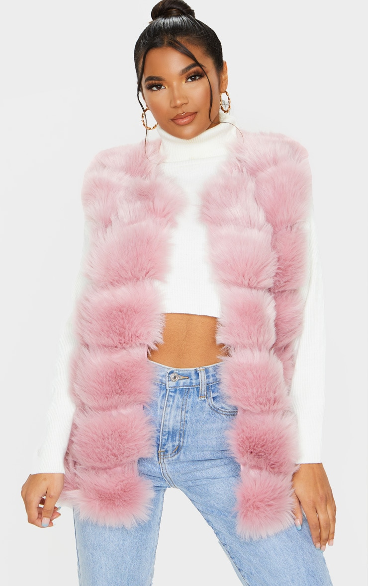 Dusty Pink Faux Fur Longline Gilet 1
