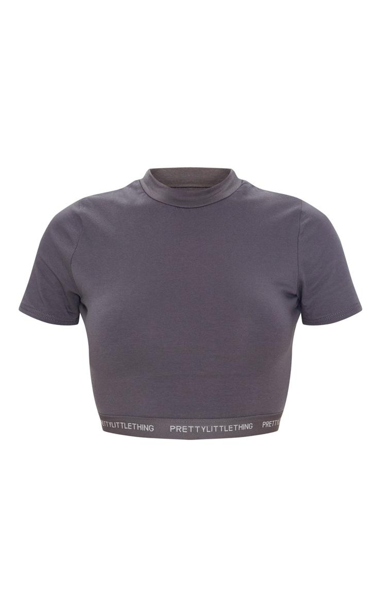 PRETTYLITTLETHING Lead Grey Tape Jersey Crop T Shirt 3