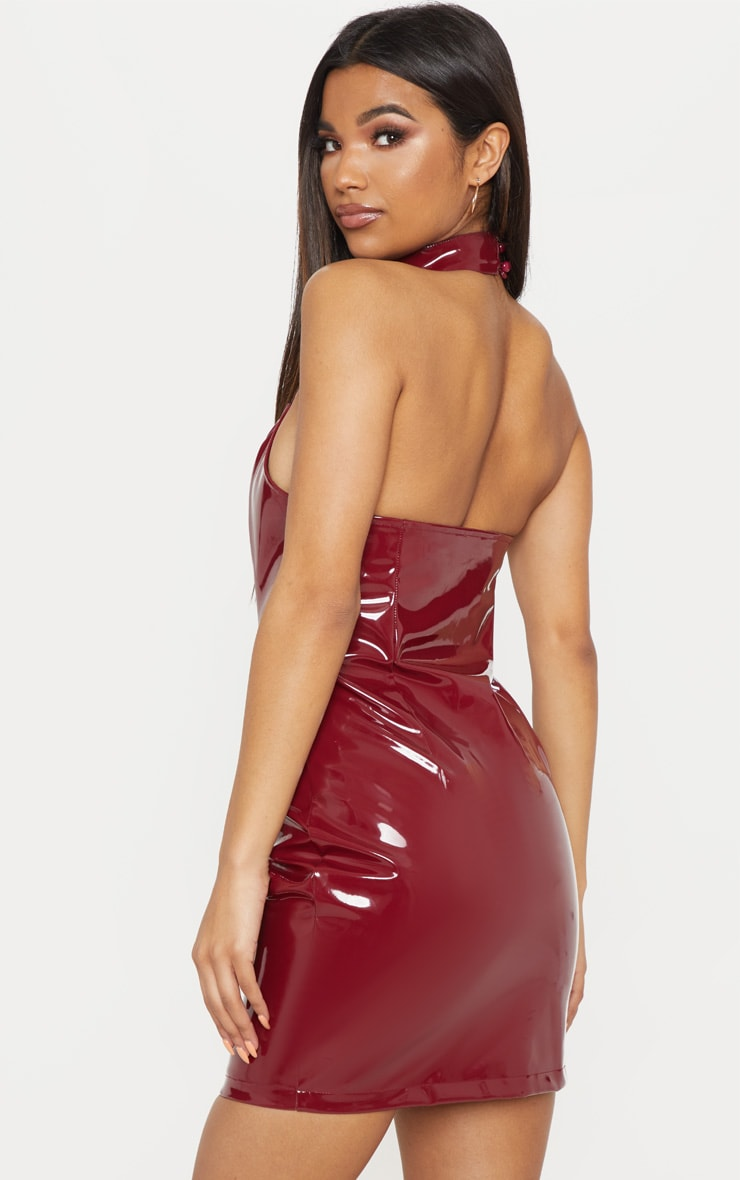 Burgundy Vinyl Buckle Detail Bodycon Dress  2