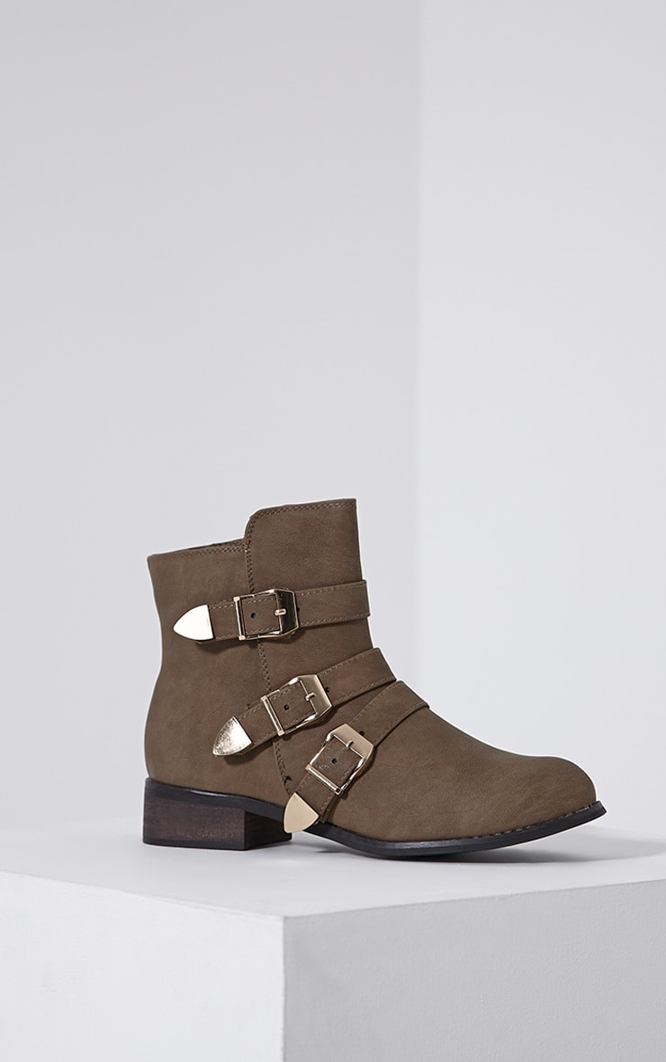 Martha Taupe Three Buckle Ankle Boots 3