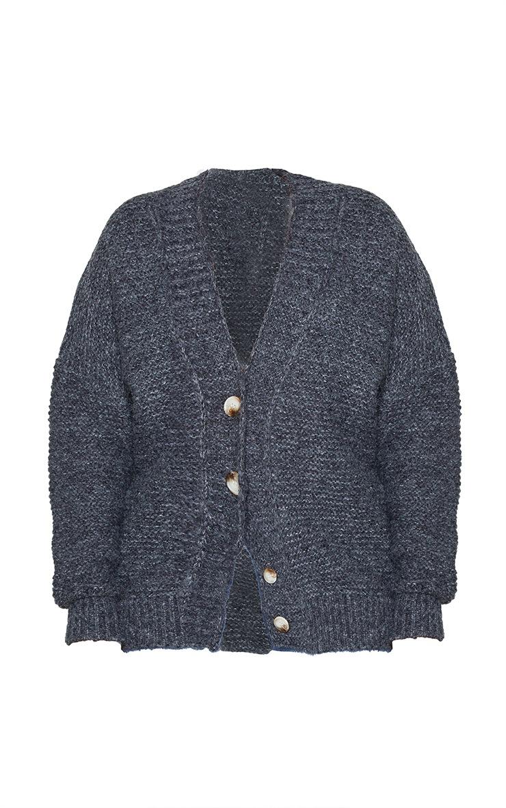 Plus Black Rib Collar Oversized Cardigan 5