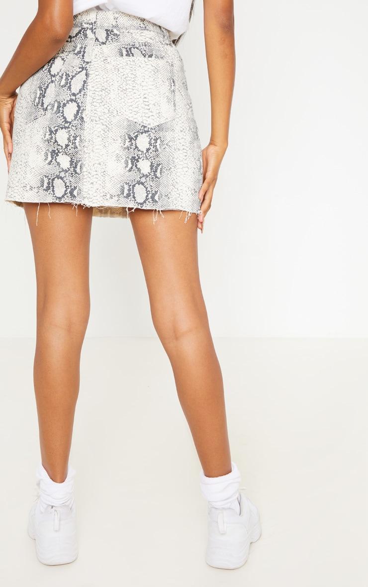 Grey Snake Print Denim Mini Skirt  3
