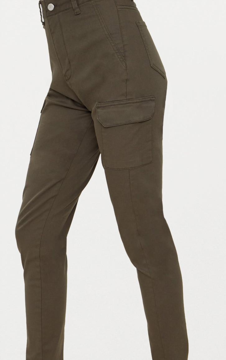 Khaki Pocket Detail Utility Skinny Jean 5