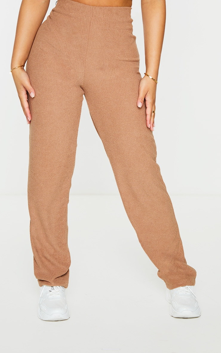 Petite Brown Towelling Rib High Waisted Flared Trousers 2