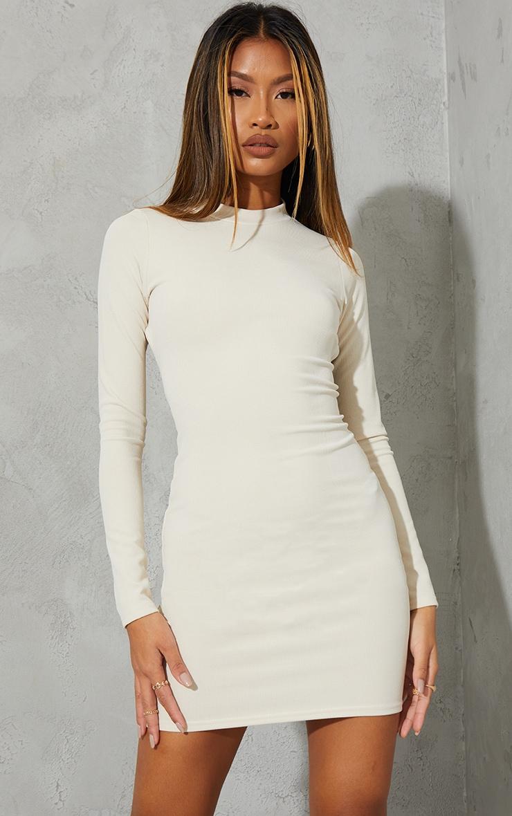 Cream Ribbed Long Sleeve Open Tie Back Bodycon Dress 3
