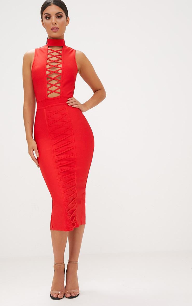 Red Criss Cross Bandage Midi Dress  1