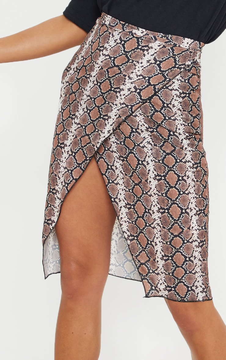 Petite Brown Snake Print Wrap Pencil Skirt  5