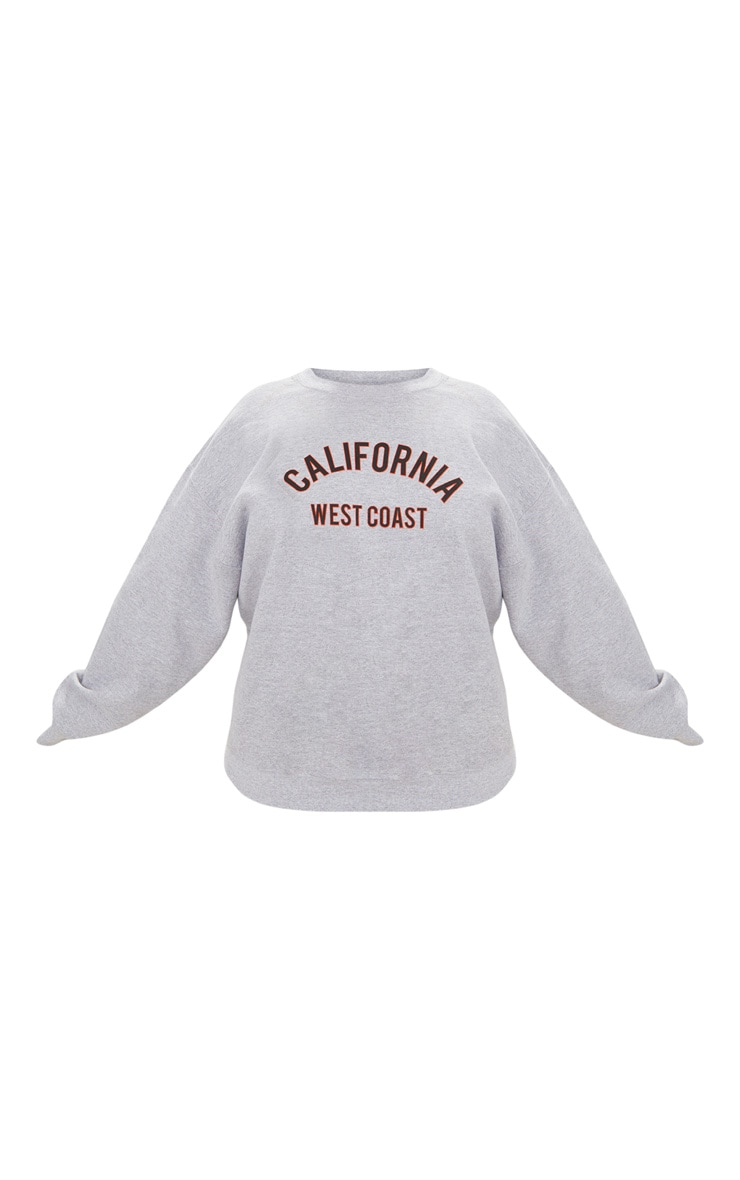 Plus Grey Marl California Slogan Oversized Sweater 3