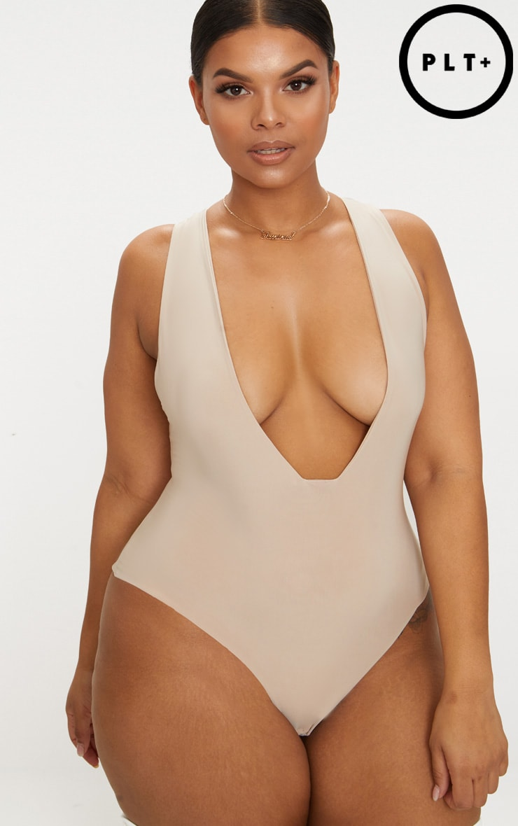 Plus Stone Second Skin Low Cut Thong Bodysuit 2