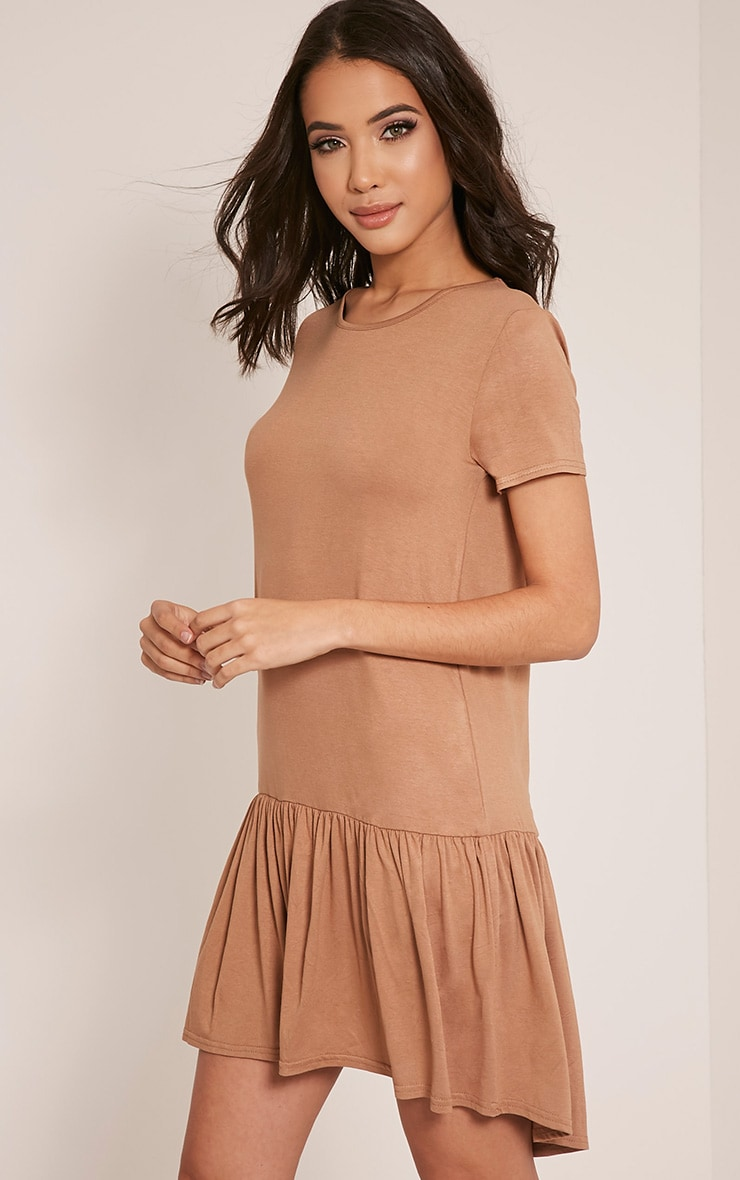 Tania Camel Drop Hem T shirt Dress 4