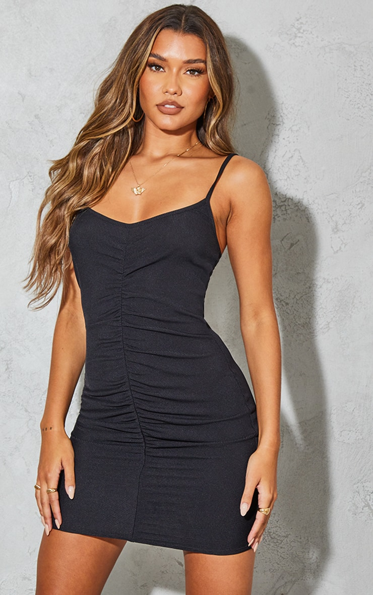 Black Ribbed Strappy Gathered Front Bodycon Dress 1