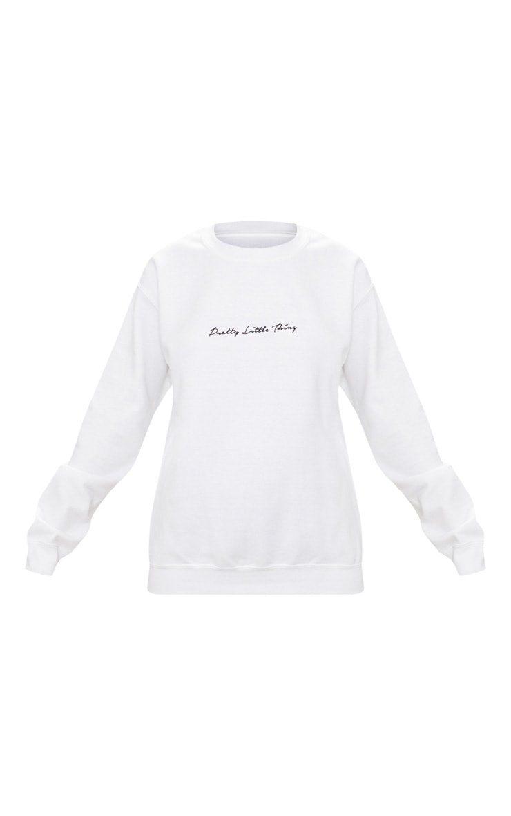 PRETTYLITTLETHING White Embroidered Oversized Sweater 3