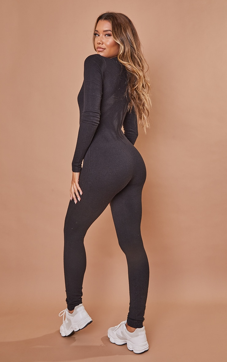 Black Zip Up Knitted Jumpsuit 2