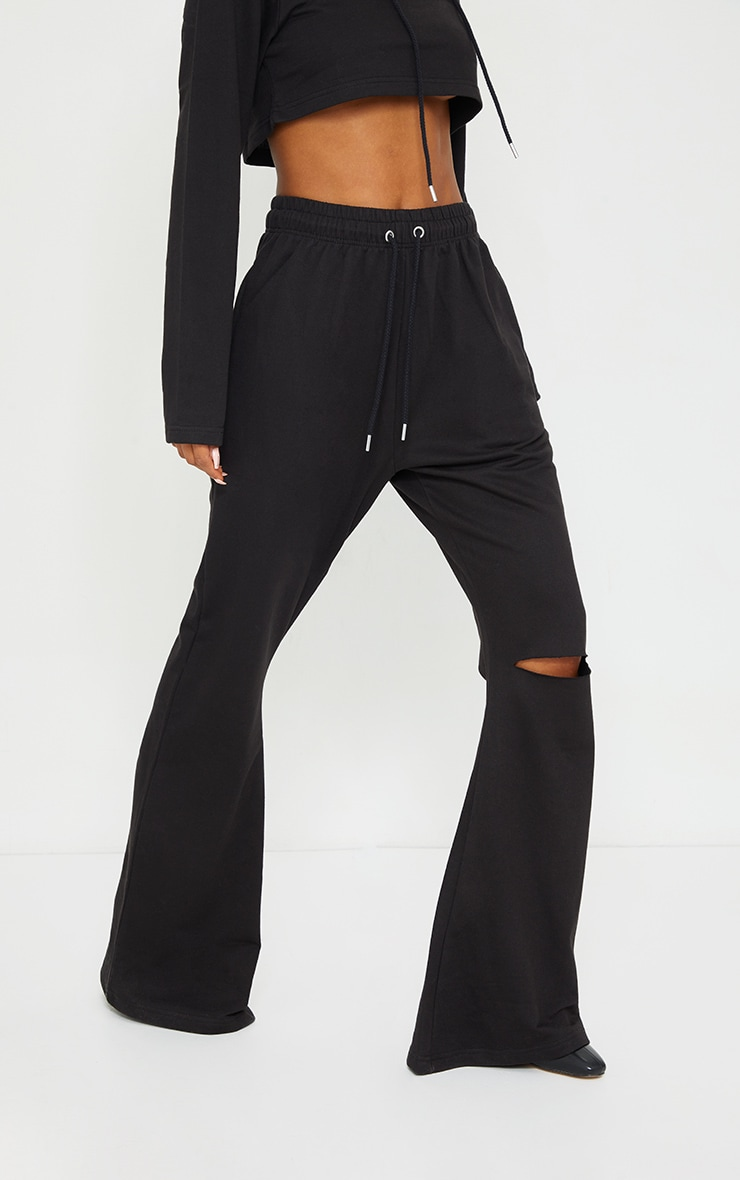Black Split Knee Wide Leg Joggers 2
