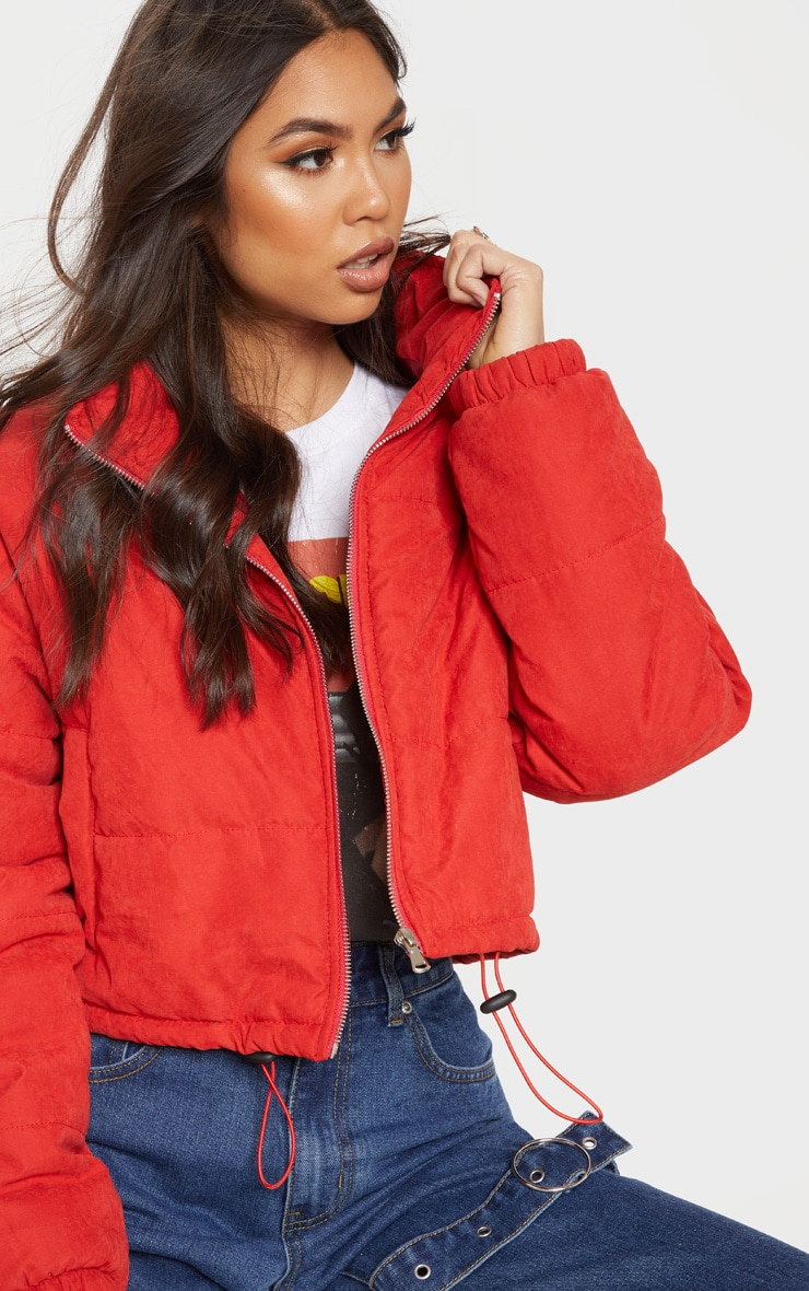 Red Super Cropped Peach Skin Puffer 5