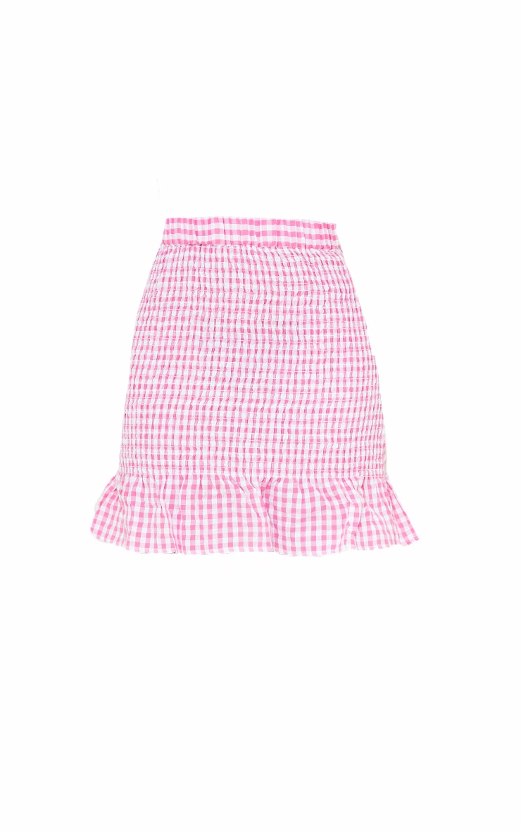 Pink Gingham Ruched Frill Hem Mini Skirt 6