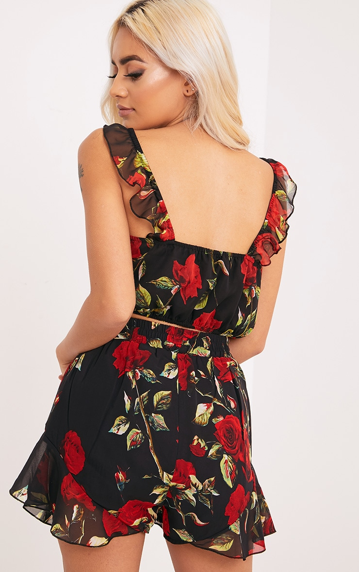 Destini Black Floral Print Ruffle Strap Crop Top  2