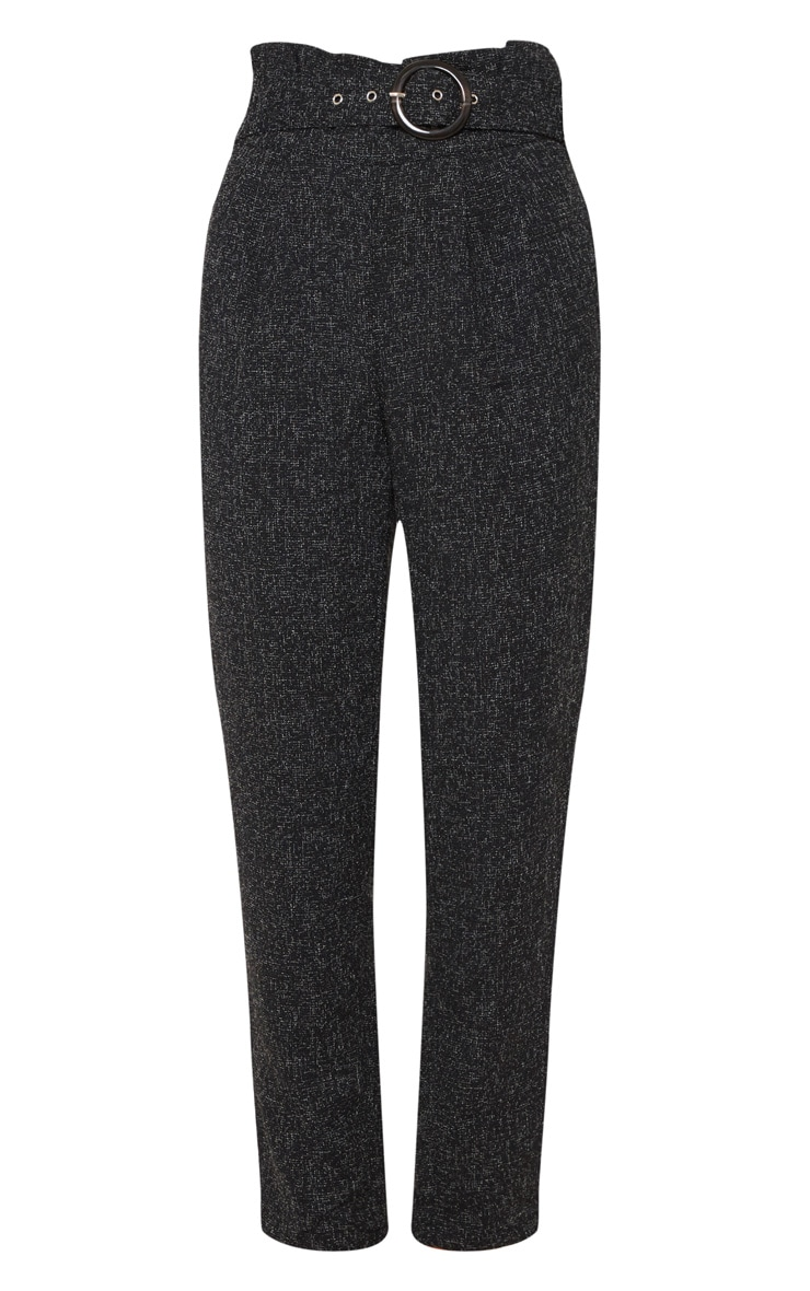 Black Belted Tweed Cigarette Pants 3