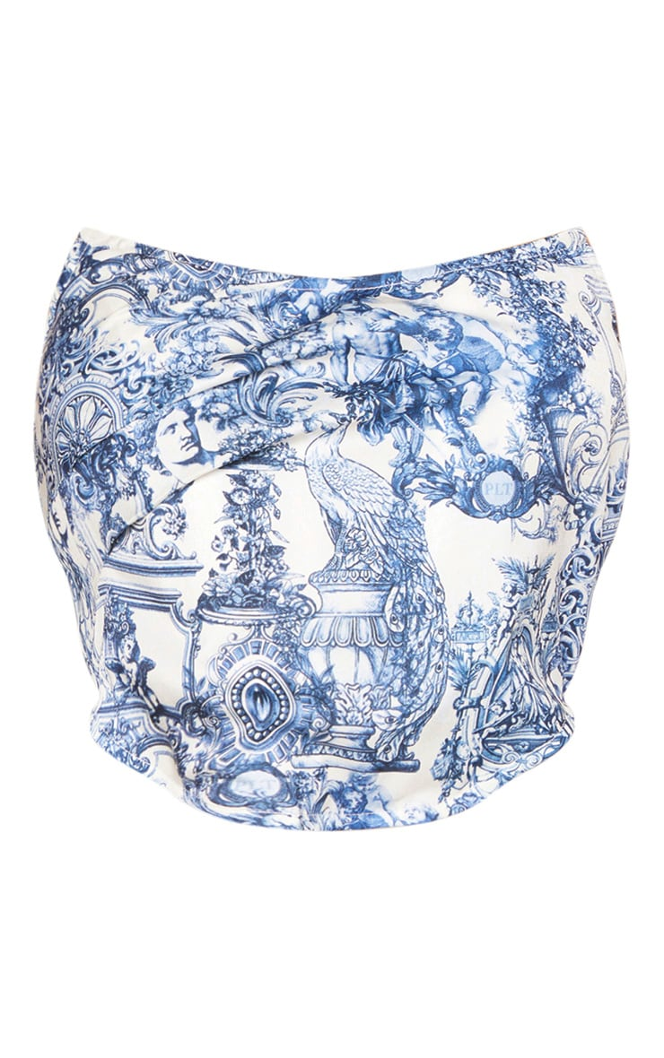 Blue Renaissance Print Satin Boned Curved Hem Corset 3