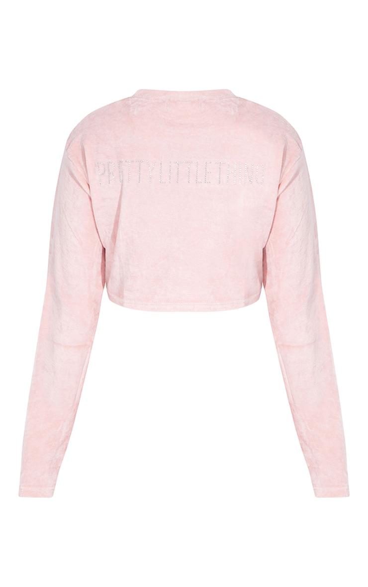 PRETTYLITTLETHING Shape Pink Diamante Velour Long Sleeve Sweater 6