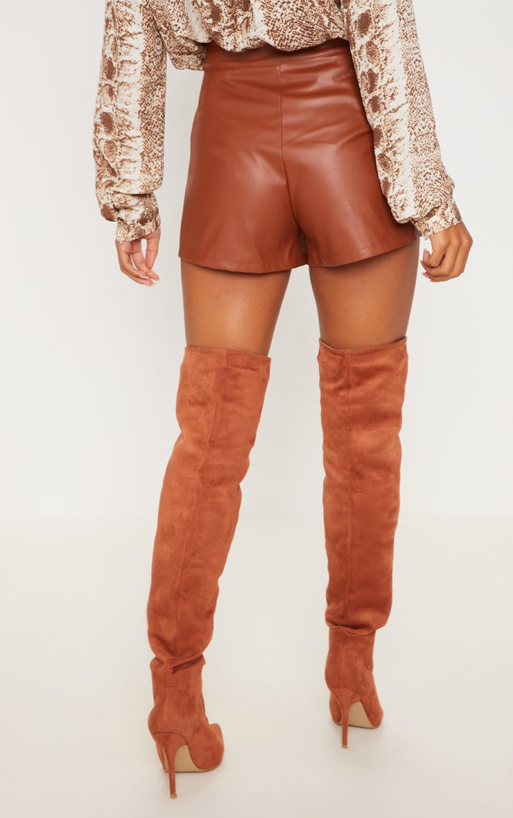 Short en similicuir marron plissé 3