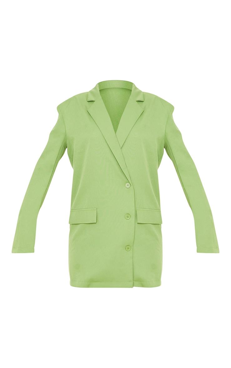 Green Woven Pocket Detail Long Sleeve Blazer Dress 5