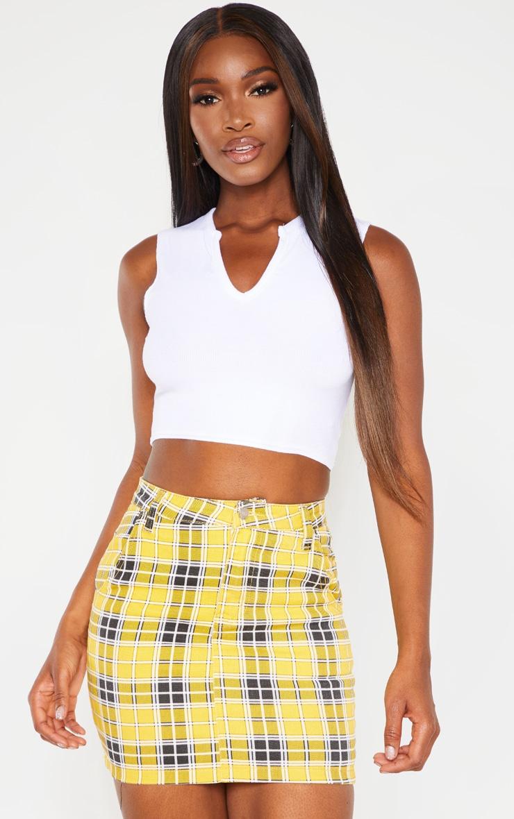 Yellow Checked Denim Skirt  1