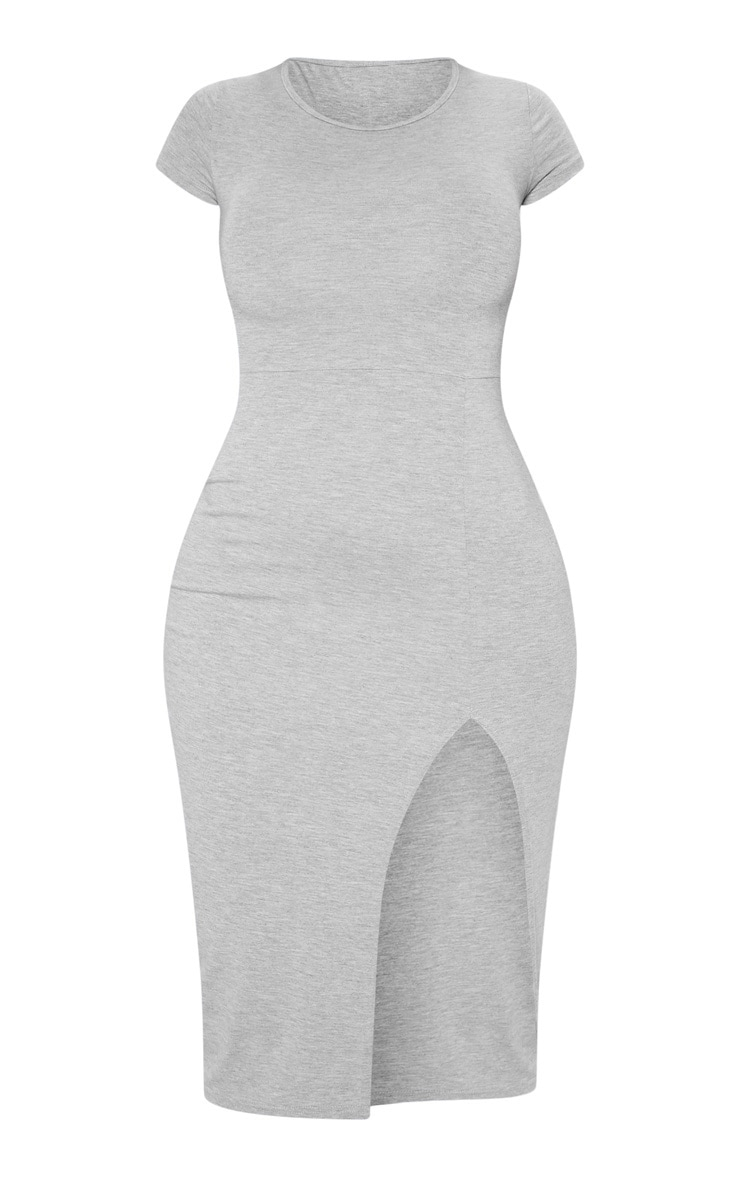 Grey Crew Neck Short Sleeve Split Midi Dress 3