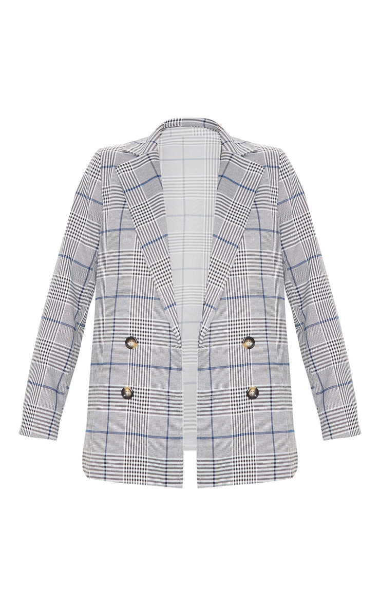 Grey Checked Button Woven Blazer   3
