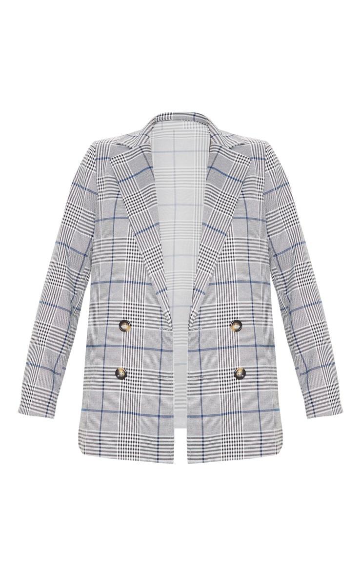 Grey Checked Button Woven Blazer 3
